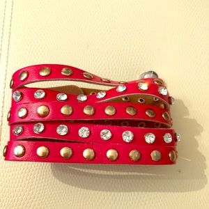 Jewelry - Red pleather and sparkle bracelet